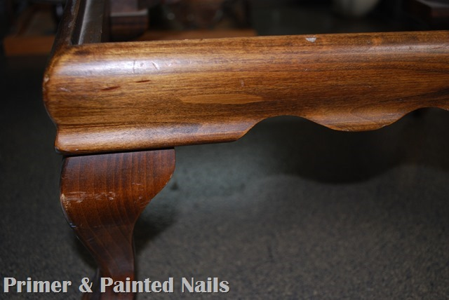 Footstool Before Up Close - Primer & Painted Nails