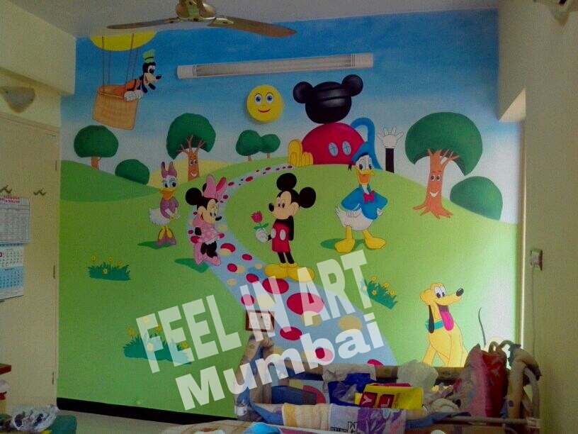 Mickey mouse club house theme wall painting for Classroom mural