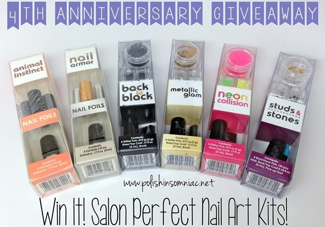 Enter to win 6 Salon Perfect Nail Art Kits as part of polish insomiac's 4th annivesary giveaway!