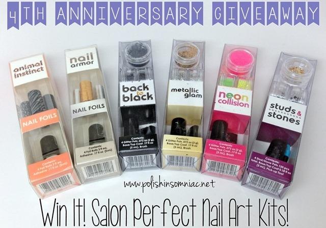 Enter to win 6 Salon Perfect Nail Art Kits as part of polish insomiac's 4th annivesary giveaway!