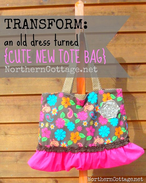 TRANFORM old dress turned cute tote @NorthernCottage.net