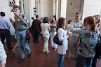 Guests mingle outside at the dessert reception.