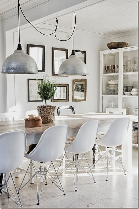 white dining room my lovely things blog cococozy eames chairs metal pendant light