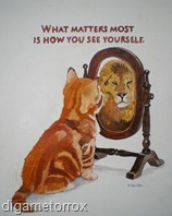 cat and the mirror with lion oil