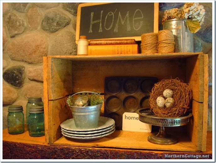 {Northern Cottage} autumn mantel display