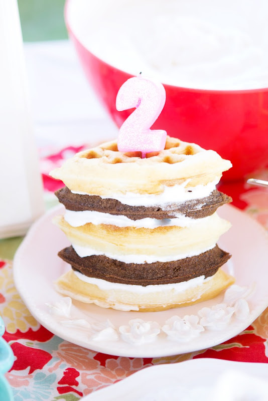 waffle cake, birthday waffle cake, waffle party, breakfast party, colorful party, two year old birthday party