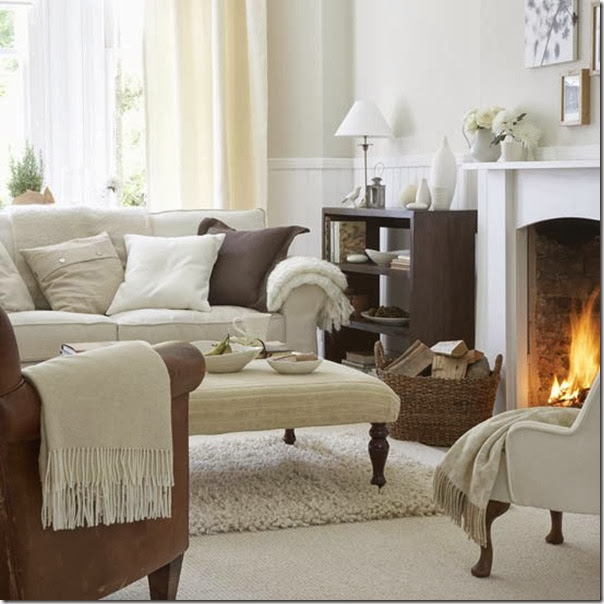 Simple-white-living-room-design-with-fireplace-and-brown-cabinet