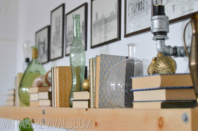 Book Shelves Living Room Makeover @ Vintage Revivals