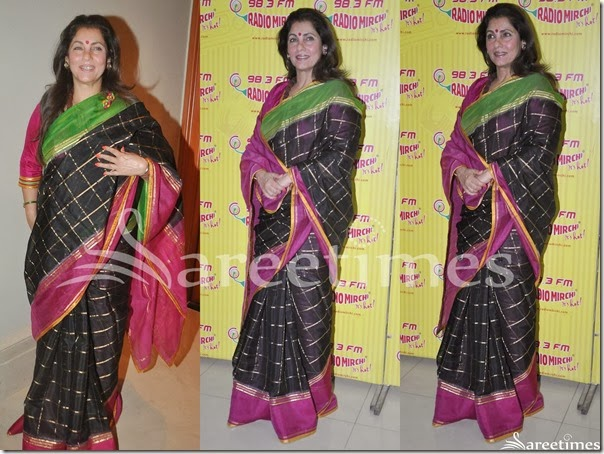 Dimple_Kabadia_Black_Silk_Saree