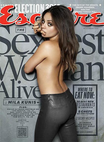 A atriz Mila Kunis que foi eleita a mulher mais Sexy do Mundo, posa de Topless para a capa da Revista Esquire.