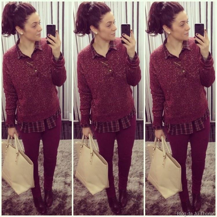 look burgundy, camisa xadrez e tricô metalico (2)
