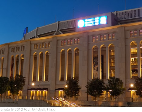 'Yankee Stadium Facade at dusk' photo (c) 2012, Rich Mitchell - license: http://creativecommons.org/licenses/by/2.0/