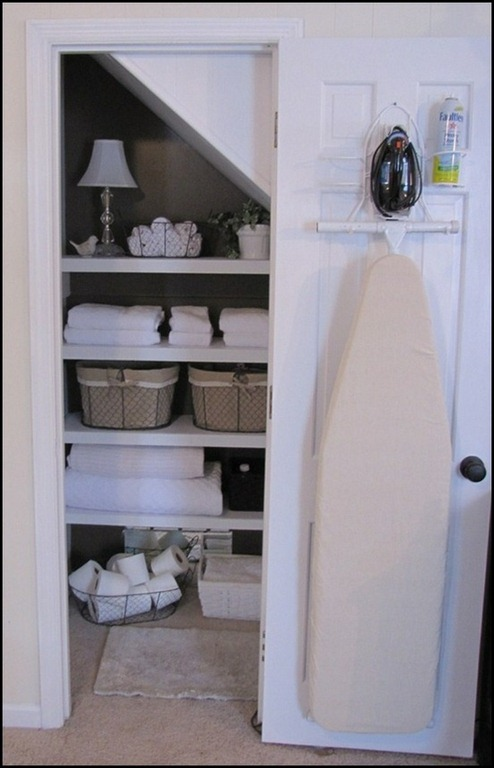 The best little laundry basket the ironing board for Iron closet storage