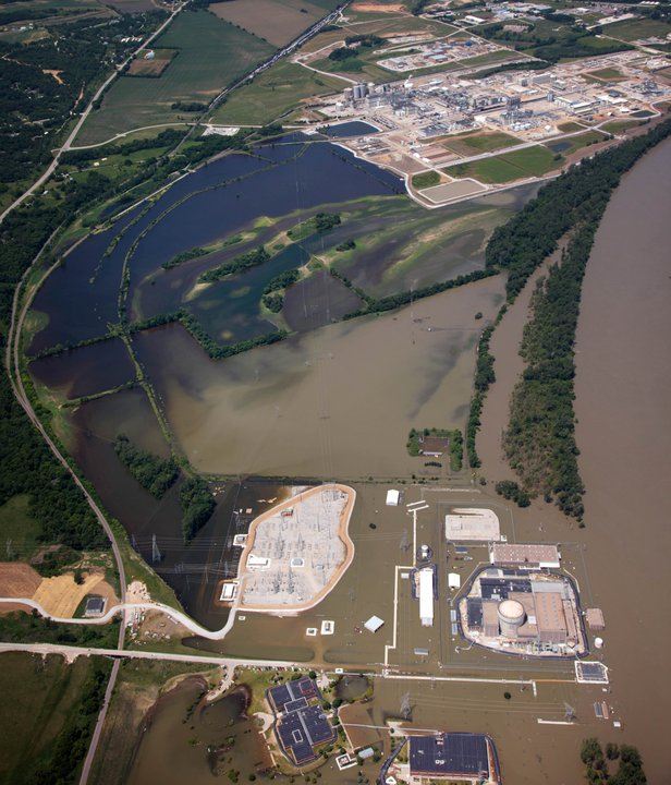 Aerial view of the Fort Calhoun nuclear power plant, 16 June 2011. That's the power plant near the bottom of the image. Matt Miller / World-Herald