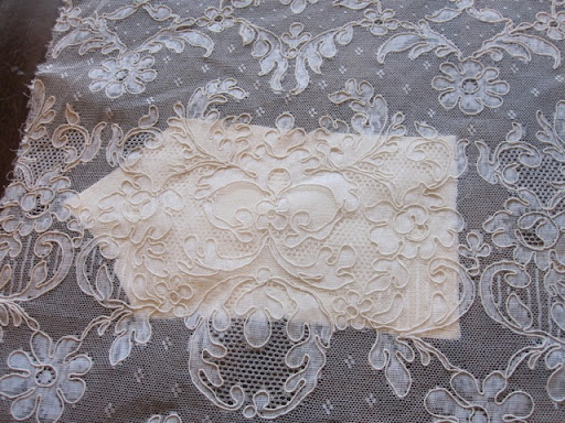 Each piece of the bodice was very carefully layered with the vintage lace.