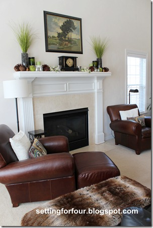 Mantel decorating ideas for spring at Setting for Four.  See it all here: http://settingforfour.blogspot.com/2012/03/my-space-spring-fireplace-mantle.html #spring #mantel #decor