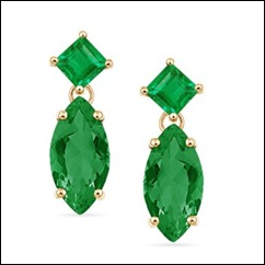 Marquise and Square Emerald Dangling Earrings