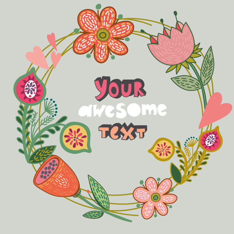 Floral background wreath