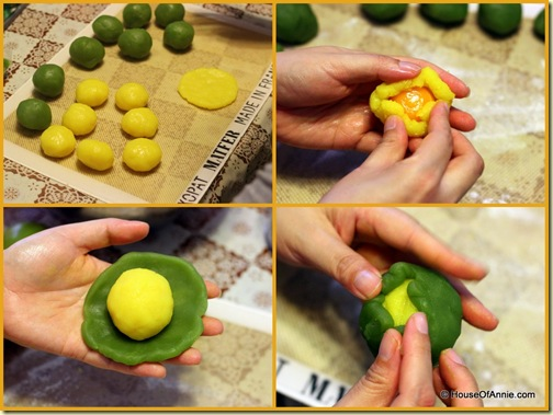 Assembling Custard and Pandan Paste Balls