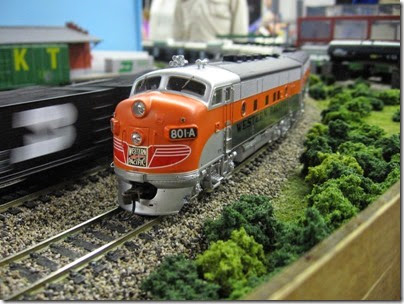 IMG_5483 Western Pacific F3A #801A pulling the California Zephyr on the LK&R HO-Scale Layout at the WGH Show in Portland, OR on February 17, 2007