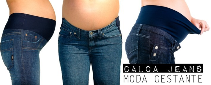 calça jeans moda gestante