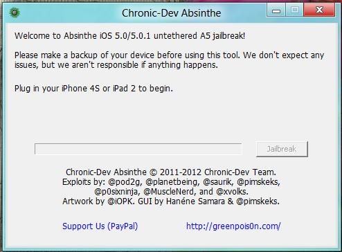 Jailbreak iPhone 4S dan iPad 2 dengan Absinthe