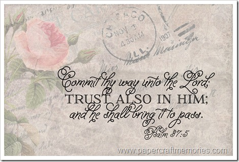 Psalm 37:5 vintage rose  frameable 4x6