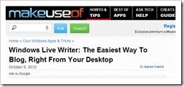 Windows Live Writer the easiest way to blog right from your desktop article by aaron couch October 9 2012.bmp