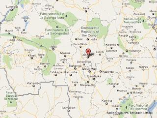 – Le point A en rouge, le territoire de Lusambo dans la province du Kasaï-Oriental, localisé sur Google Map.