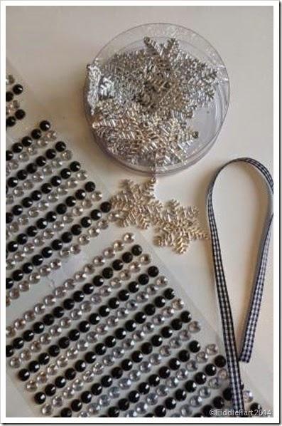 Snowflake heart decoration. tag. Poundshop self adhesive gems