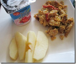 yogurt, crab omelette, apple slices, 240baon