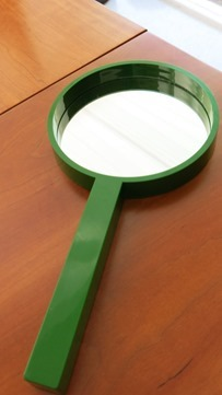 Hand mirror in emerald green