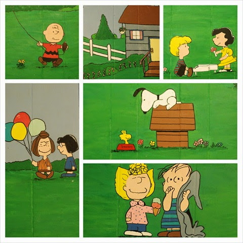 Peanuts characters wall mural collage
