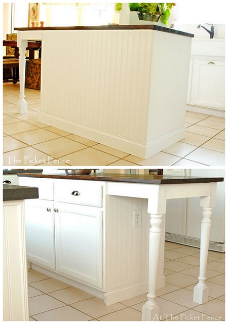 Kitchen island makeover tutorial at the picket fence for Add beadboard to kitchen cabinets