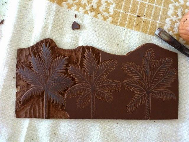 Palmtrees linogravure HeleneB5