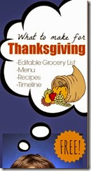 Meal Planner -  thanksgiving menu