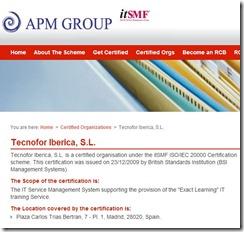 información de un certificado ISO 20000