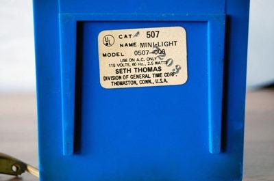 Seth Thomas Mini-Light alarm clock, blue