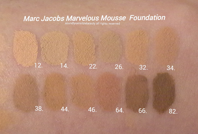 Marc Jacobs Marvelous Mousse Transformative Foundation Review & Swatches of Shades 12 Ivory, 14 Medium Ivory, 22 Light Bisque, 26 Medium Bisque, 32 Beige Light, 34 Beige Medium,  38 Beige Deep, 44 Golden Medium, 46 Golden Deep, 64 Fawn, 66 Fawn Deep, 82 Cacao,