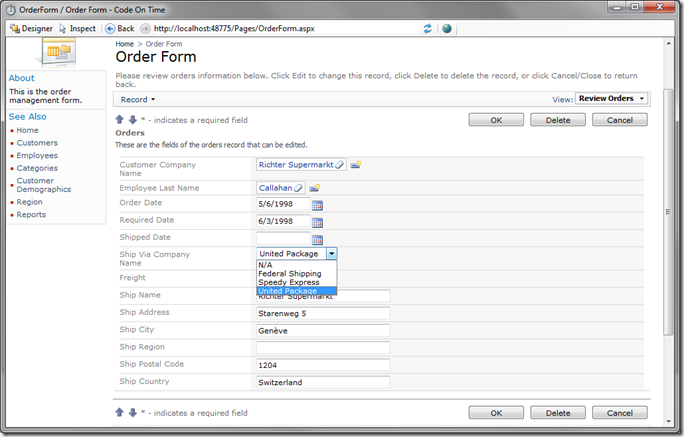 Ship Via Company Name data field as 'Drop Down List' in Code On Time Preview