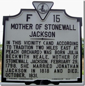 Mother Stonewall Jackson, Marker F-15