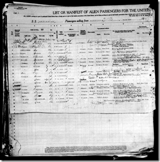 The first page of a passenger manifest may be just half of the record