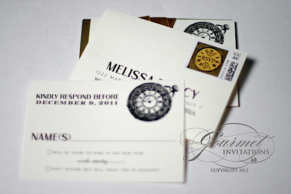 melissa david clock theme new years eve wedding invitations