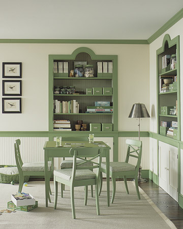 Using this green as an accent keeps the room from being too overpowering. (Martha Stewart Living)