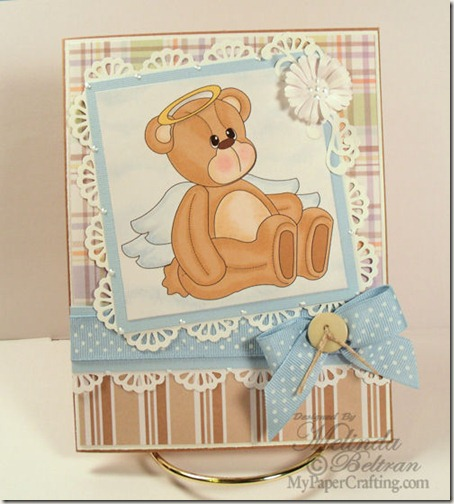 teddy bear angel digital stamp card 500