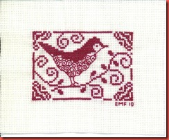 Curlicue Bird: 1 color of DMC floss on 18-ct Off White Aida