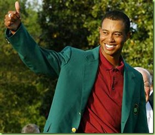tiger woods in Masters green jacket
