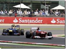 Alonso precede Webber nel gran premio di Gran Bretagna 2012