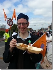 Rob eating food at sikh festival