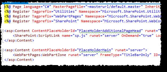 App page default markup